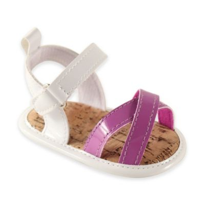 BabyVision® Luvable Friends™ Size 12-18M Bright Strappy Sandals in White/Purple