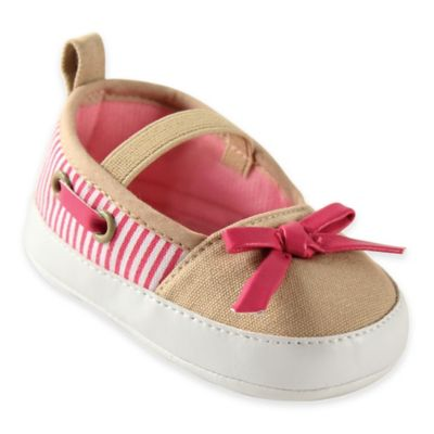 BabyVision® Luvable Friends™ Size 12-18M Girls Boating Flats in Beige/Pink