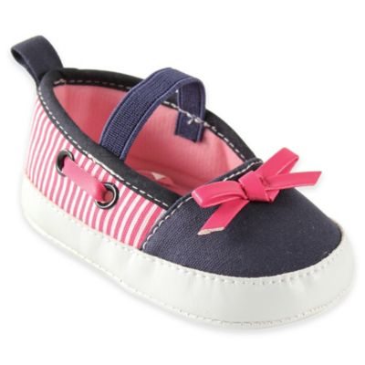 BabyVision® Luvable Friends™ Size 6-12M Girls Boating Flats in Pink/Navy