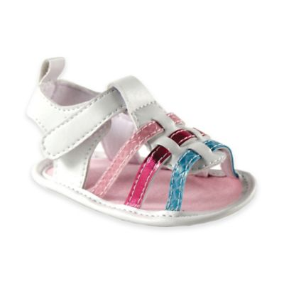 BabyVision® Luvable Friends™ Size 12-18M Metallic Sandal in White