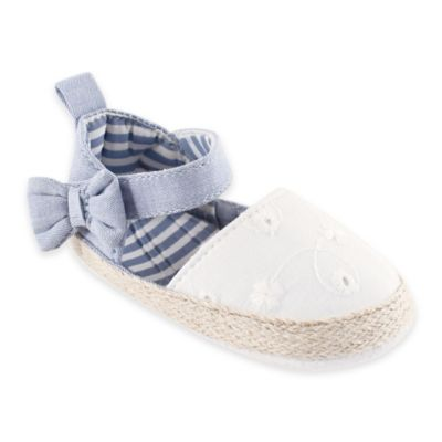 BabyVision® Luvable Friends® Size 12-18M Bow Espadrille Sandal in Chambray/White