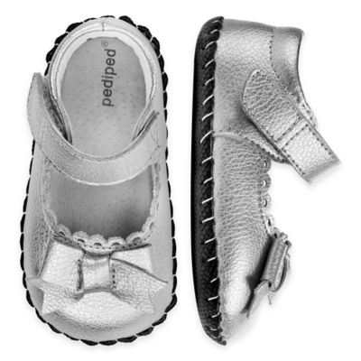 pediped® Originals Size 6-12M Betty Mary Jane Shoes in Silver