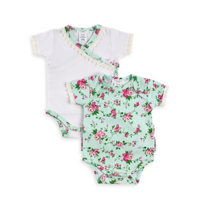 Laura Ashley London Size 0-3M La Pima 2-Pack Pima Cotton Bodysuits in White/Green