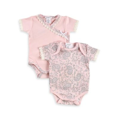 Laura Ashley London Size 6-9M 2-Pack Pima Cotton Bodysuits in Pink/White