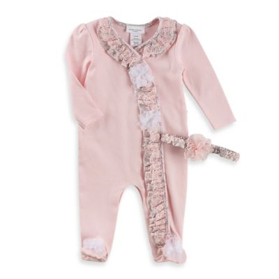 Laura Ashley London Size 0-3M 2-Piece Pima Cotton Ruffle Footie and Headband Set in Pink