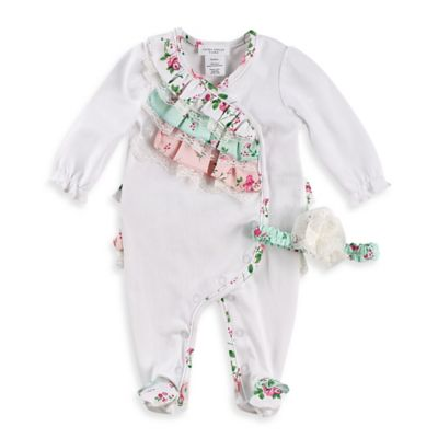 Laura Ashley London Size 0-3M 2-Piece Pima Cotton 3-Tier Ruffle Footie and Headband Set