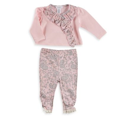 Laura Ashley London Size 0-3M 2-Piece Pima Cotton Ruffled Cardigan and Floral Pant Set in Pink