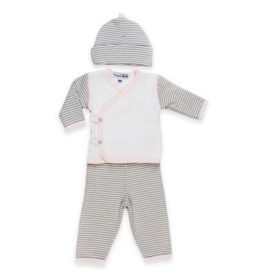 Sippy's Babes® Size 3M 3-Piece Striped Take Me Home Set in Pink/Grey