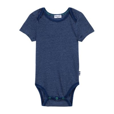 Splendid® Size 0-3M Mini-Stripe Short Sleeve Bodysuit in Indigo