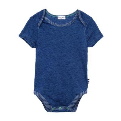 Splendid® Size 0-3M Short Sleeve Stripe-Trim Bodysuit in Indigo