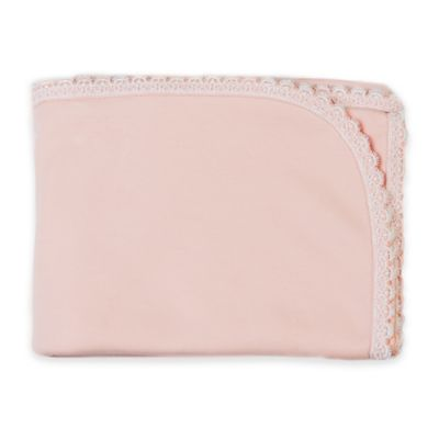 Sippy's Babe's® White Scalloped Lace Trim Blanket in Pink