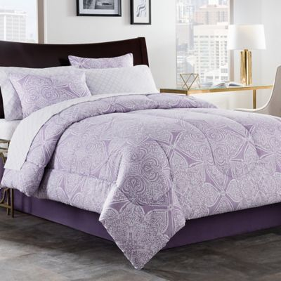 Lea 6-Piece Twin XL Comforter Set in Purple/White