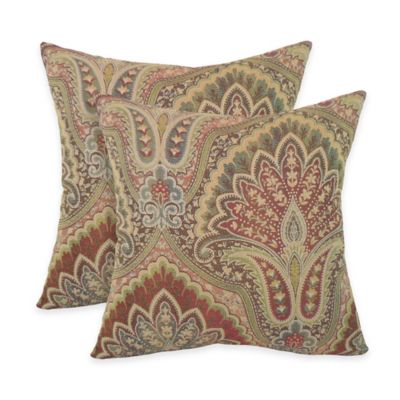 Arlee Home Fashions® Velora Woven Paisley Square Throw Pillow in in Rust (Set of 2)