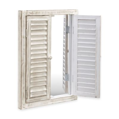 Coastal Window Mirror with Wood Shutters in White