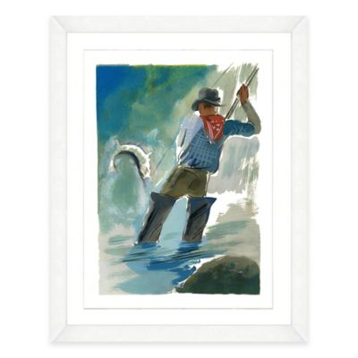 Framed Giclée Watercolor Fishing Print Wall Art