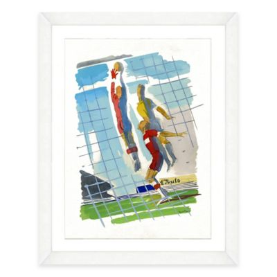 Framed Giclée Watercolor Volleyball Print Wall Art