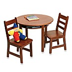 Round Table With Shelf & 2 Chair Set in Cherry