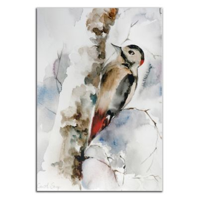 Woodpecker Metal Wall Art in Neutral Pastels