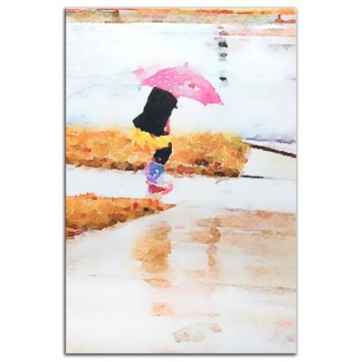 Pink Umbrella Watercolor Metal Wall Art in Pastels