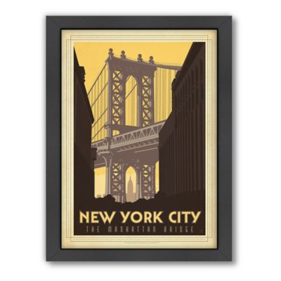 Art & Soul of America™ New York City: Manhattan Bridge Framed Wall Art by Anderson Design Group