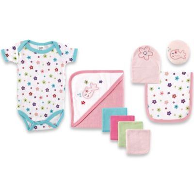 Baby Vision® Luvable Friends® Bath Time 9-Piece Set in Pink