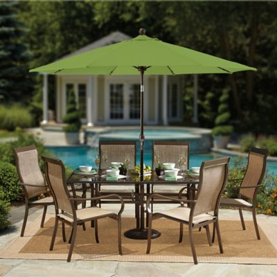 9-Foot Round Auto-Tilt Aluminum Market Umbrella in Sunbrella® Terracotta