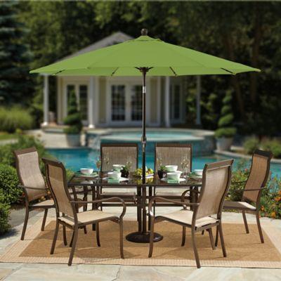 9-Foot Round Auto-Tilt Aluminum Market Umbrella in Sunbrella® Beige