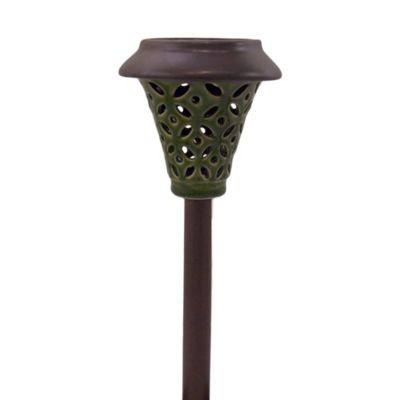 Solar Ceramic Pathway Lights in Green (Set of 4)
