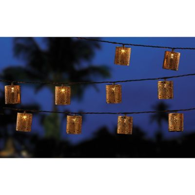 Outdoor10-Bulb Moroccan Die-Cut Cylinder String Lights - Bed Bath & Beyond