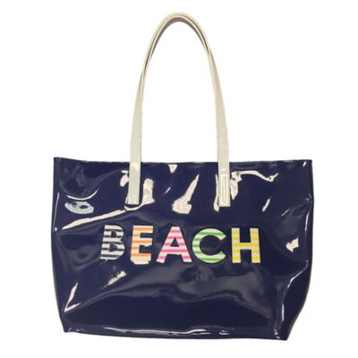 "PVC ""Beach"" Tote in Navy"