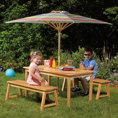 Kid's Acacia Wood 4-Piece Picnic Set