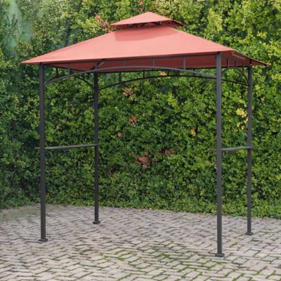 4-Foot 9-Inch x 8-Foot Grill Gazebo Plus with Glass Shelves in Terracotta