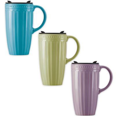 Lenox® French Perle™ Groove Travel Mug in Peacock