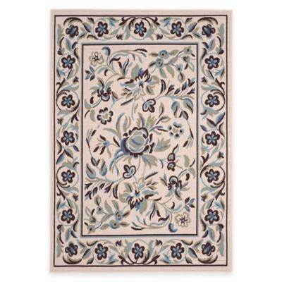Garden Blue 5-Foot x 7-Foot Indoor/Outdoor Area Rug in Cream/Green