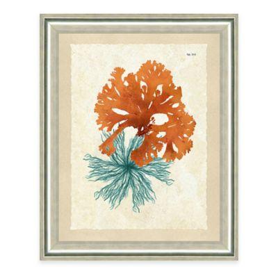 Framed Giclée Teal and Orange Seaweed Print I Wall Art
