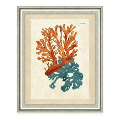 Framed Giclée Teal and Orange Seaweed Print II Wall Art