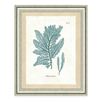 Framed Giclee Teal Seaweed Print I Wall Art