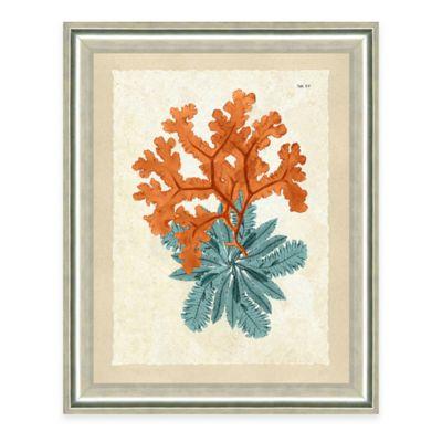 Framed Giclee Teal and Orange Seaweed Print IV Wall Art