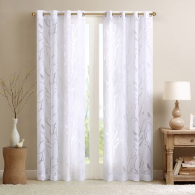 Madison Park Averil Sheer Bird 84-Inch Grommet Top Window Curtain Panel in White