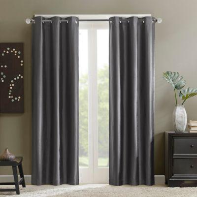 Madison Park Aiden 63-Inch Grommet Top Window Curtain Panel in Grey