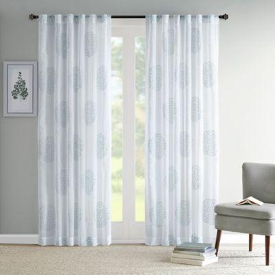 Madison Park Genia 84-Inch Rod Pocket/Back Tab Sheer Branch Flocking Window Curtain Panel in Aqua