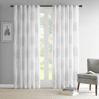 Madison Park Genia 84-Inch Rod Pocket/Back Tab Sheer Branch Flocking Window Curtain Panel in Grey