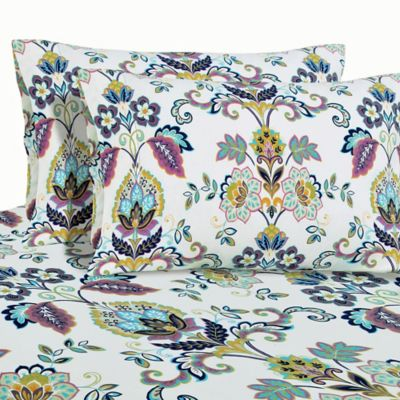 Paisley Print 200 GSM Deep-Pocket Twin Flannel Sheet Set in White