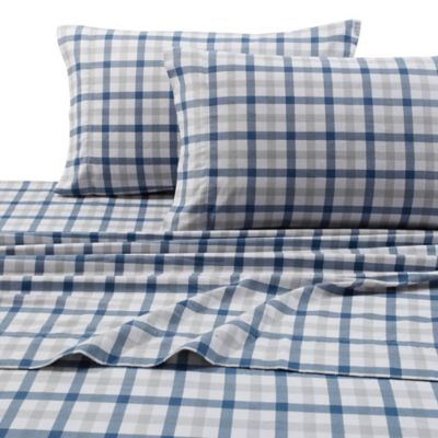 Micro Plaid Print 200 GSM Deep-Pocket Twin Flannel Sheet Set in Blue/Green