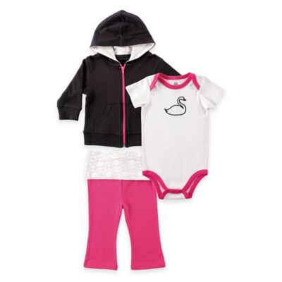 BabyVision® Yoga Sprout Size 0-3M 3-Piece Swan Hoodie, Bodysuit, and Pant Set in Pink/Black