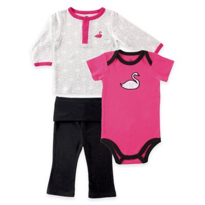 BabyVision® Yoga Sprout Size 12-18M 3-Piece Swan Jacket, Bodysuit and Pant Set in Pink/Black