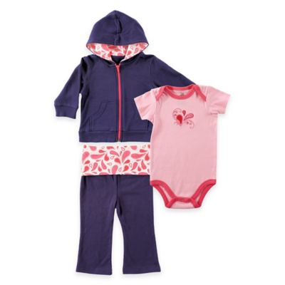 BabyVision Yoga Sprout Size 12-18M 3-Piece Paisley Jacket, Bodysuit, and Pant Set in Coral/Navy
