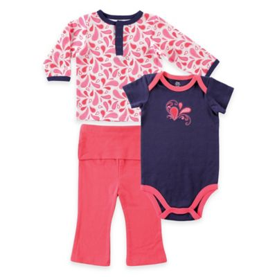 BabyVision® Yoga Sprout Size 9-12M 3-Piece Paisley Top, Bodysuit, and Pant Set in Navy/Coral