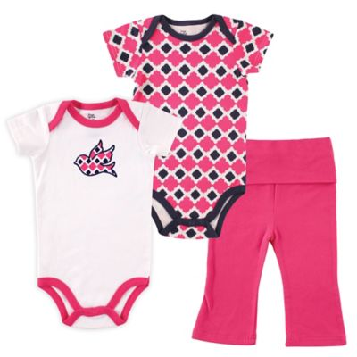 BabyVision® Yoga Sprout Size 9-12M 3-Piece Bird Bodysuit and Pant Set in Pink/Blue
