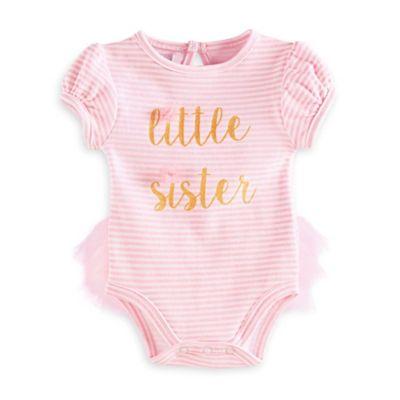 "Mud Pie® Size 6M ""Little Sister"" Short Sleeve Tutu-Back Bodysuit in Pink/Gold"